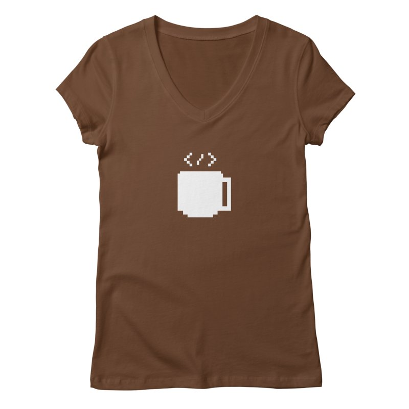 Code and Coffee Women's Regular V-Neck by Var x Apparel