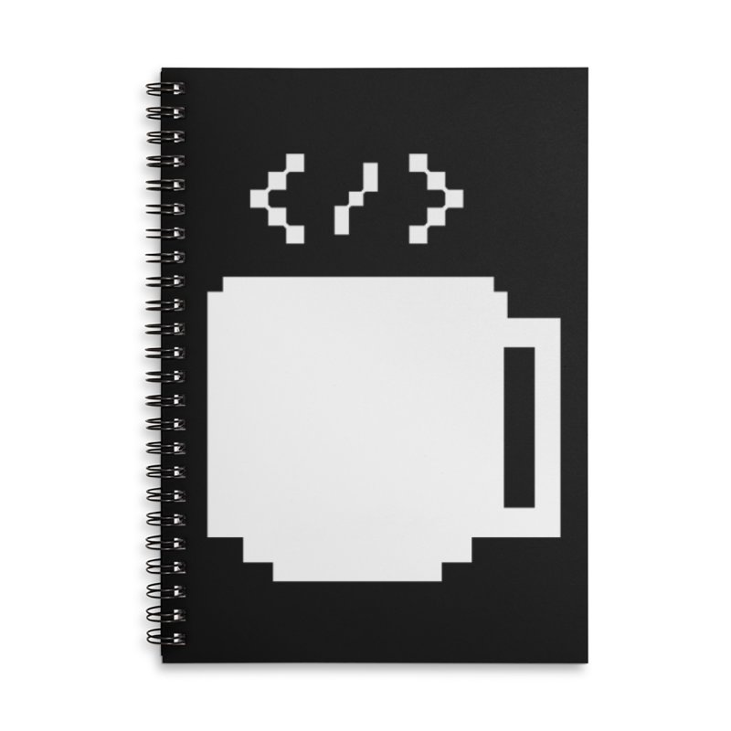 Code and Coffee Accessories Lined Spiral Notebook by Var x Apparel