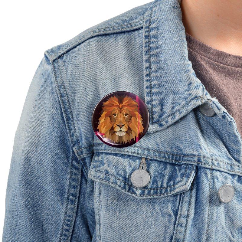 Polygonal space lion Accessories Button by V Design's Artist Shop