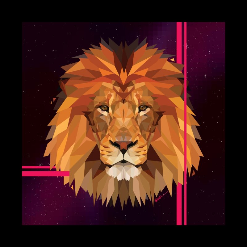 Polygonal space lion Men's T-Shirt by V Design's Artist Shop