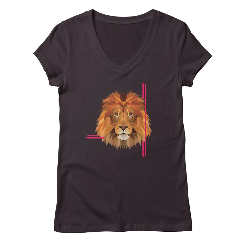 Polygonal space lion Women's V-Neck by V Design's Artist Shop