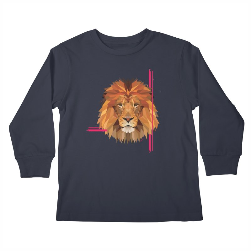Polygonal space lion Kids Longsleeve T-Shirt by V Design's Artist Shop