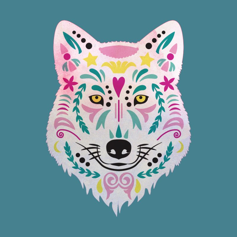 Pink and teal sugar skull wolf Women's V-Neck by V Design's Artist Shop
