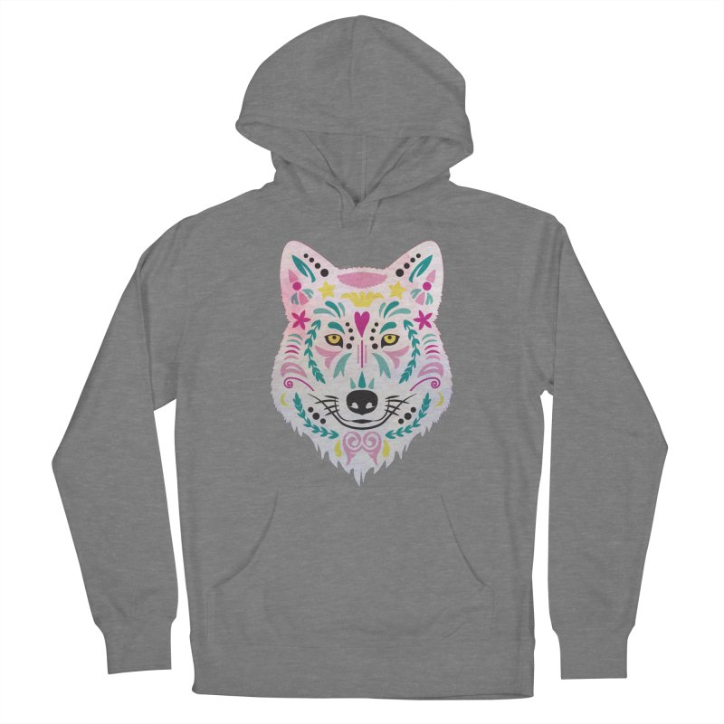 Pink and teal sugar skull wolf Women's Pullover Hoody by V Design's Artist Shop