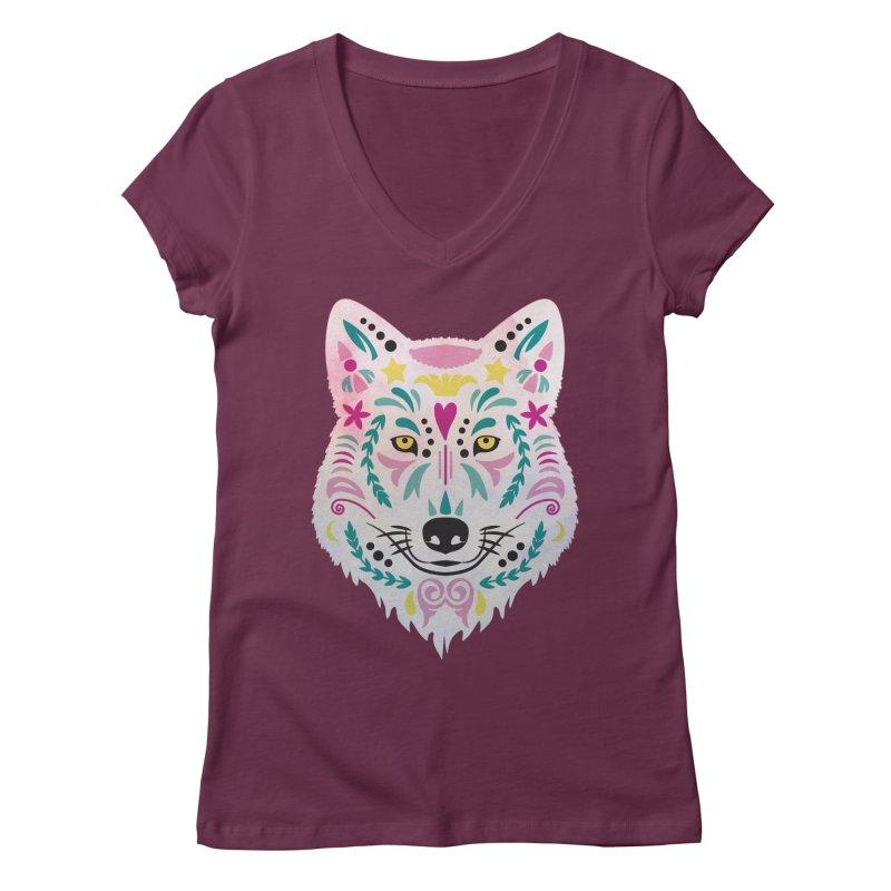 Pink and teal sugar skull wolf Women's V-Neck by V Design's Artist Shop