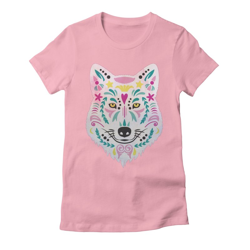 Pink and teal sugar skull wolf Women's T-Shirt by V Design's Artist Shop