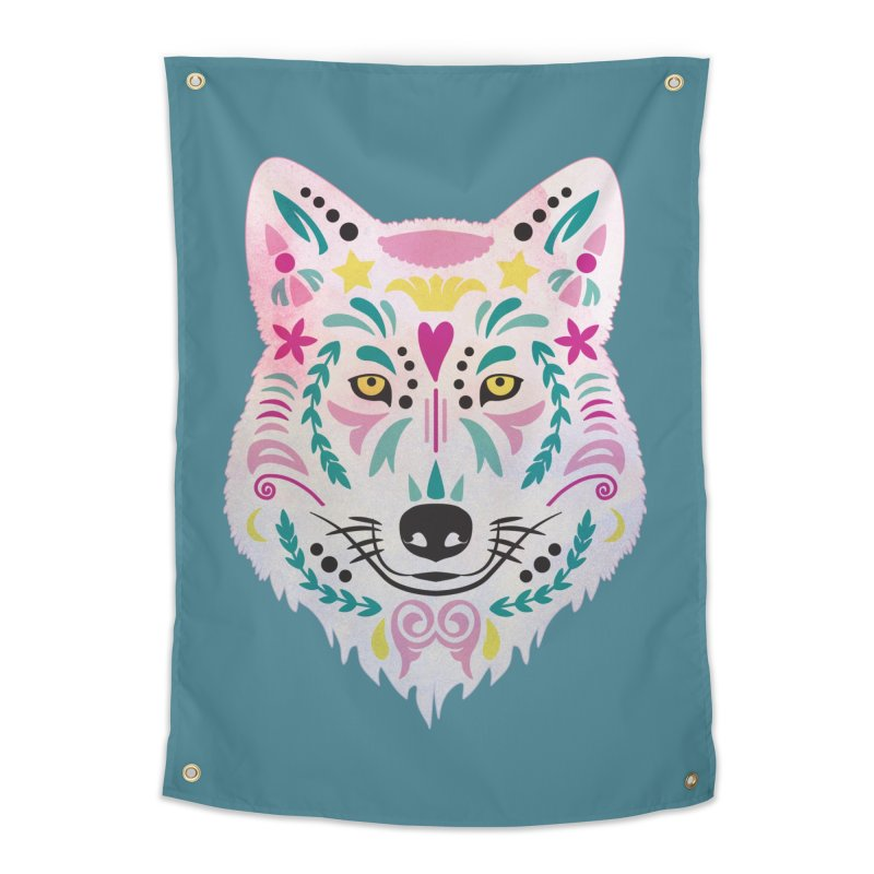 Pink and teal sugar skull wolf Home Tapestry by V Design's Artist Shop