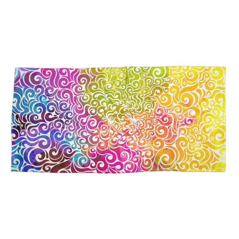 Swirly Portrait Accessories Beach Towel by VectorInk's Artist Shop
