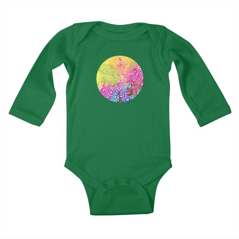 Swirly Portrait Kids Baby Longsleeve Bodysuit by VectorInk's Artist Shop