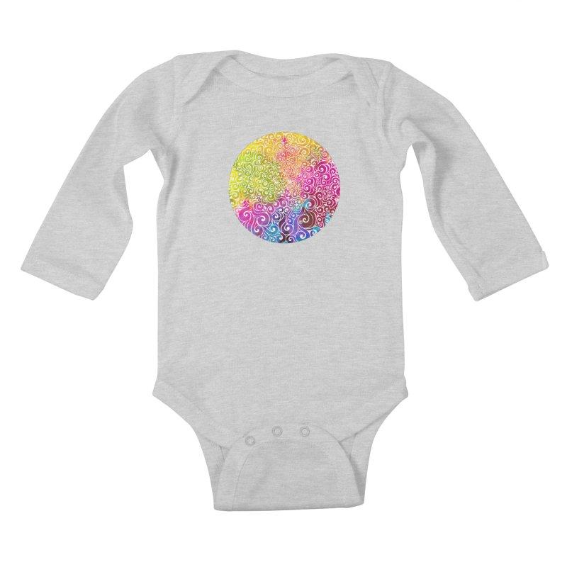 Swirly Portrait Kids Baby Longsleeve Bodysuit by VectorInk's Artist Shop