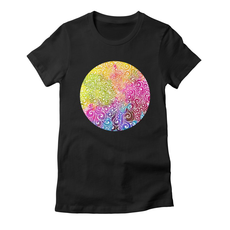 Swirly Portrait Women's Fitted T-Shirt by VectorInk's Artist Shop