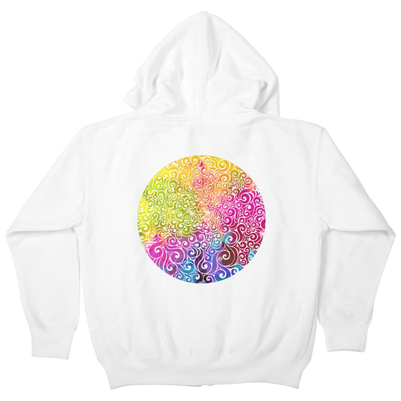 Swirly Portrait Kids Zip-Up Hoody by VectorInk's Artist Shop