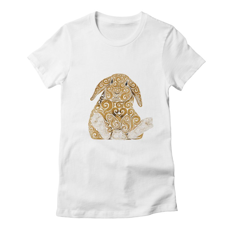 Swirly Bunny in Women's Fitted T-Shirt White by VectorInk's Artist Shop