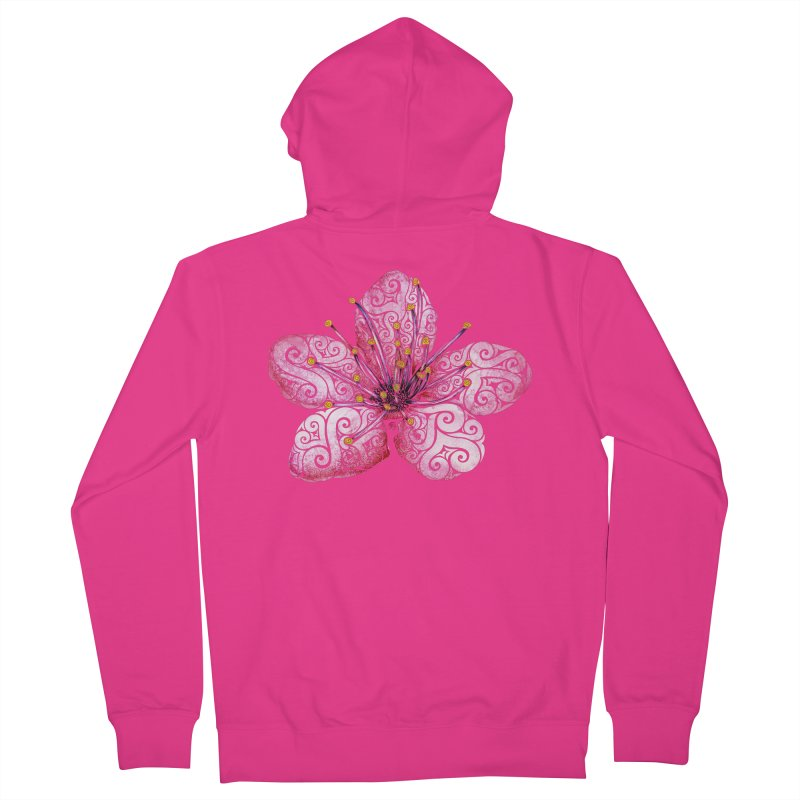 Swirly Cherry Blossom Men's French Terry Zip-Up Hoody by VectorInk's Artist Shop