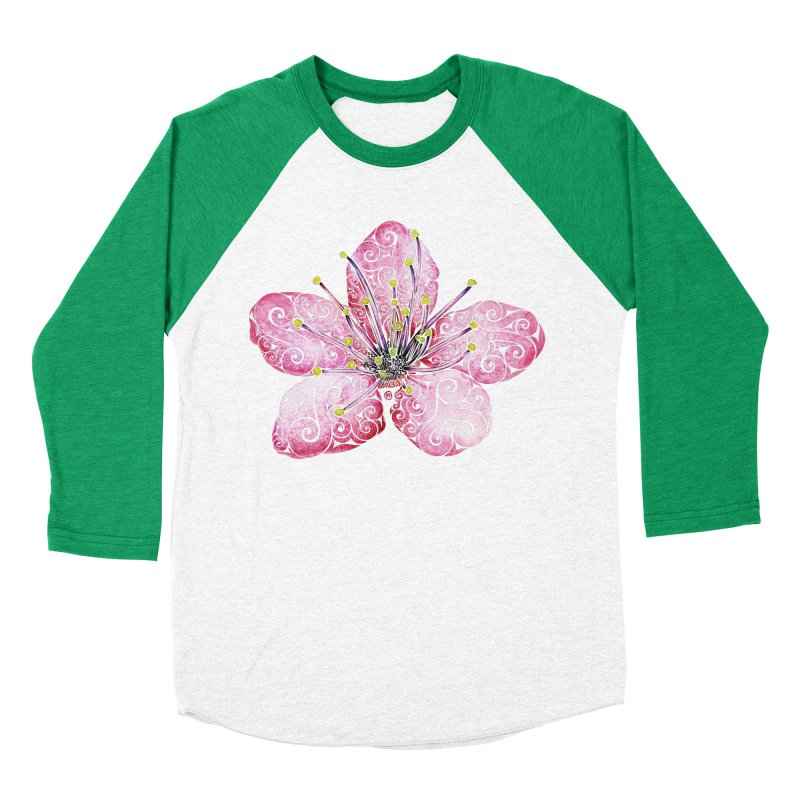 Swirly Cherry Blossom Women's Baseball Triblend Longsleeve T-Shirt by VectorInk's Artist Shop