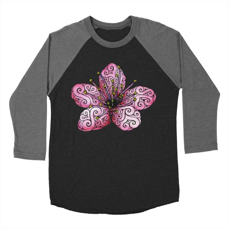 Swirly Cherry Blossom Men's Baseball Triblend Longsleeve T-Shirt by VectorInk's Artist Shop