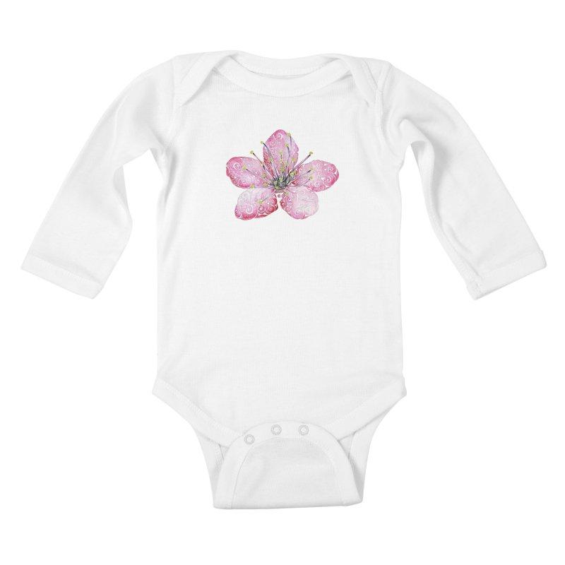 Swirly Cherry Blossom Kids Baby Longsleeve Bodysuit by VectorInk's Artist Shop