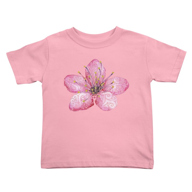 Swirly Cherry Blossom Kids Toddler T-Shirt by VectorInk's Artist Shop