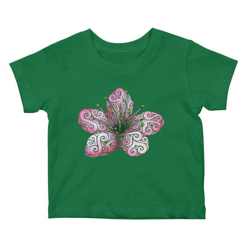 Swirly Cherry Blossom Kids Baby T-Shirt by VectorInk's Artist Shop