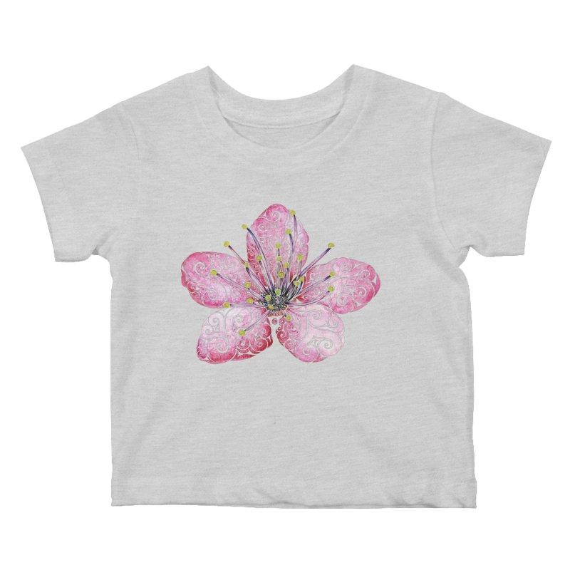 Swirly Cherry Blossom Kids Baby T-Shirt by VectorInk's Artist Shop