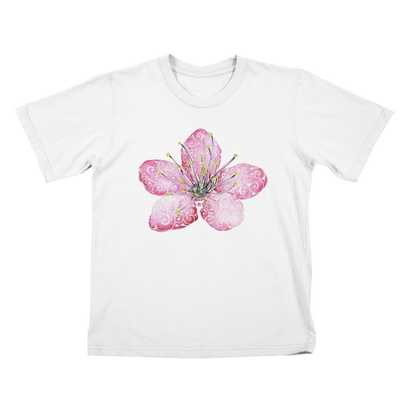 Swirly Cherry Blossom Kids T-Shirt by VectorInk's Artist Shop