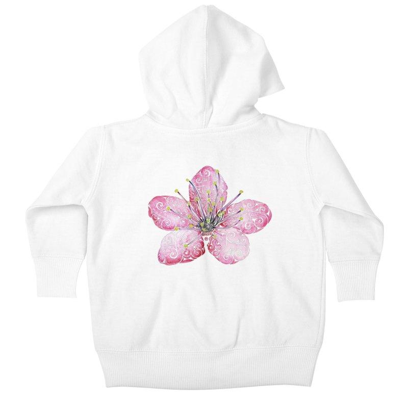 Swirly Cherry Blossom Kids Baby Zip-Up Hoody by VectorInk's Artist Shop