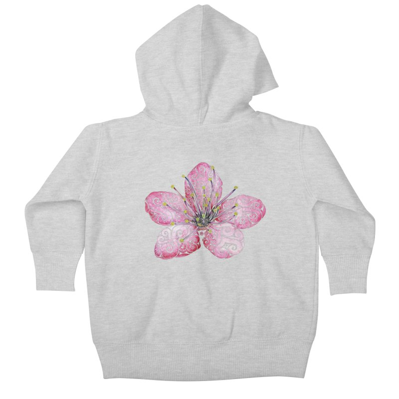 Swirly Cherry Blossom Kids Baby Zip-Up Hoody by VectorInk's Artist Shop