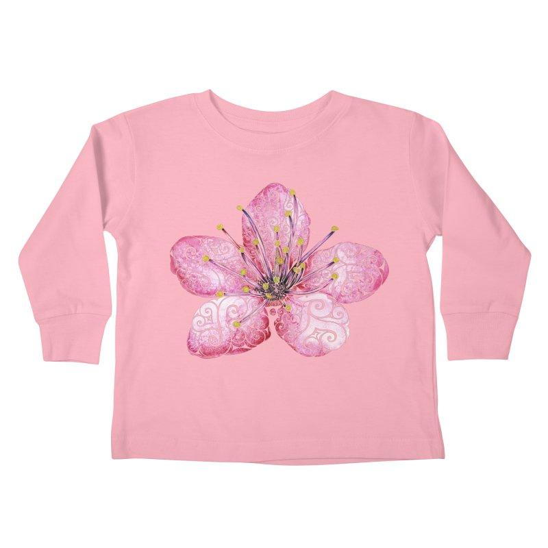 Swirly Cherry Blossom Kids Toddler Longsleeve T-Shirt by VectorInk's Artist Shop