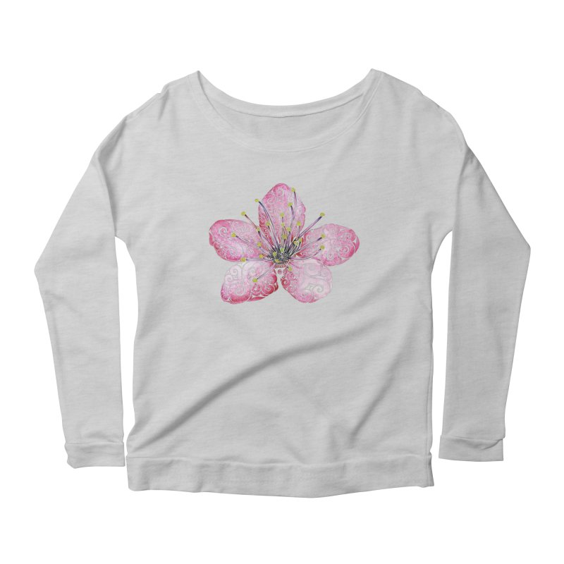 Swirly Cherry Blossom Women's Scoop Neck Longsleeve T-Shirt by VectorInk's Artist Shop