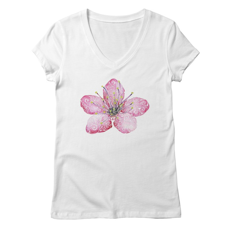 Swirly Cherry Blossom Women's V-Neck by VectorInk's Artist Shop