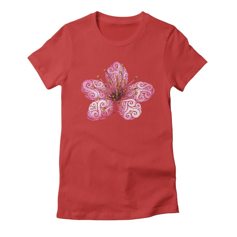 Swirly Cherry Blossom Women's Fitted T-Shirt by VectorInk's Artist Shop