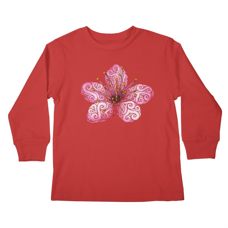 Swirly Cherry Blossom Kids Longsleeve T-Shirt by VectorInk's Artist Shop