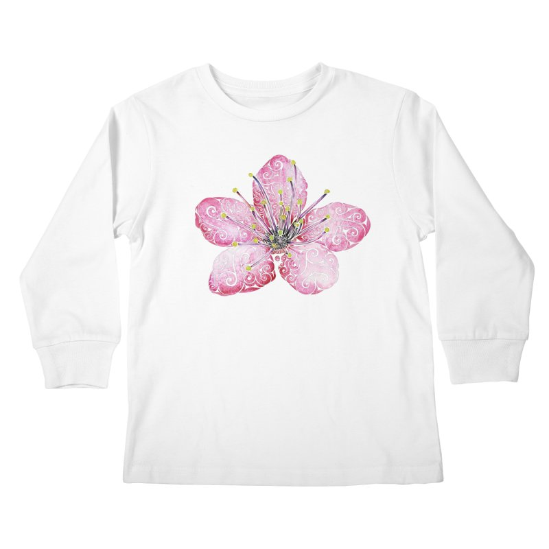 Swirly Cherry Blossom Kids Longsleeve T-Shirt by VectorInk's Artist Shop