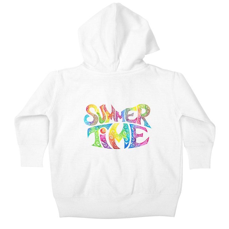 Swirly Summertime Kids Baby Zip-Up Hoody by VectorInk's Artist Shop