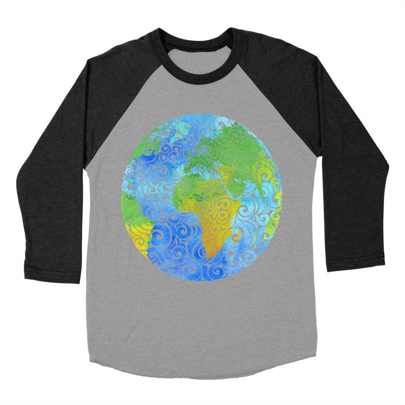 Swirly Earth Men's Baseball Triblend T-Shirt by VectorInk's Artist Shop