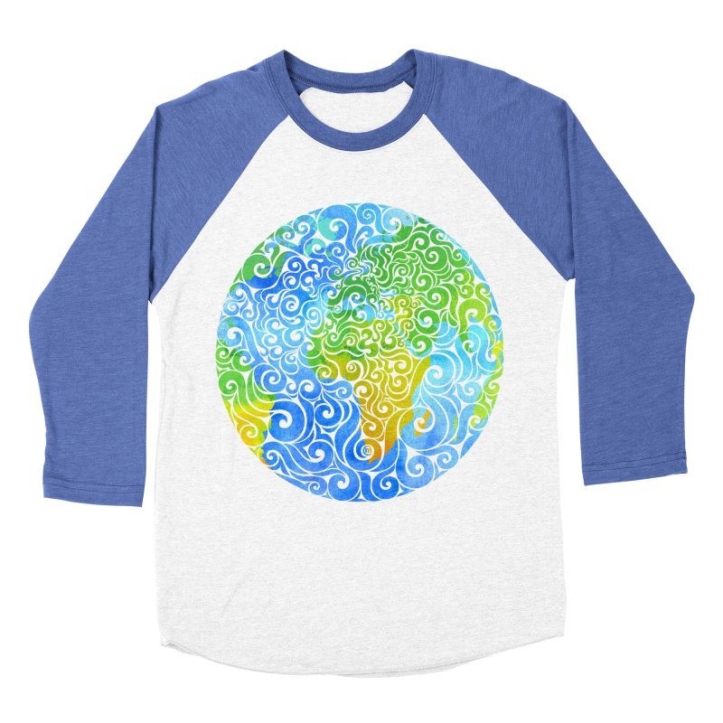 Swirly Earth Men's Baseball Triblend T-Shirt by VectorInk's Artist Shop