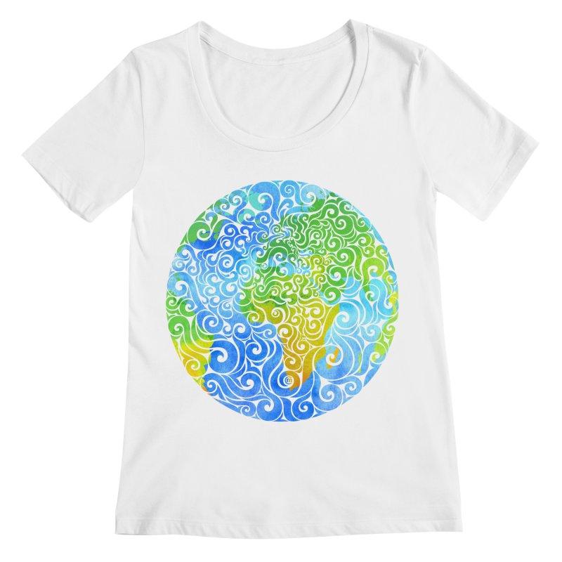 Swirly Earth Women's Scoopneck by VectorInk's Artist Shop