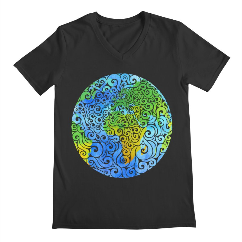 Swirly Earth Men's V-Neck by VectorInk's Artist Shop