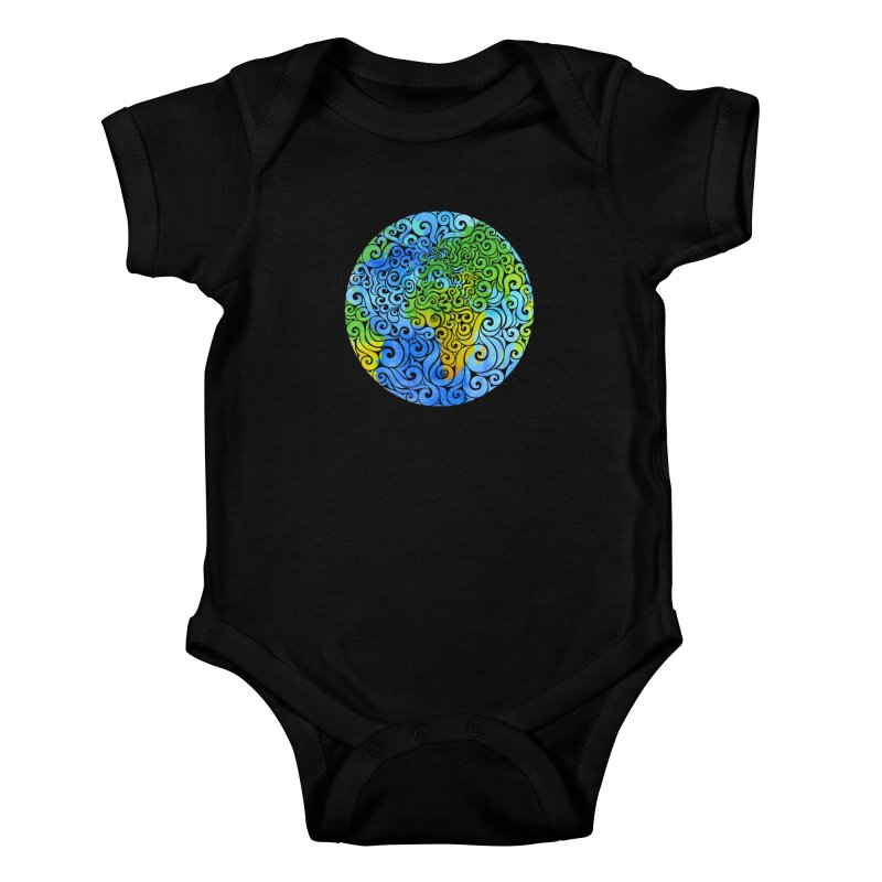Swirly Earth Kids Baby Bodysuit by VectorInk's Artist Shop