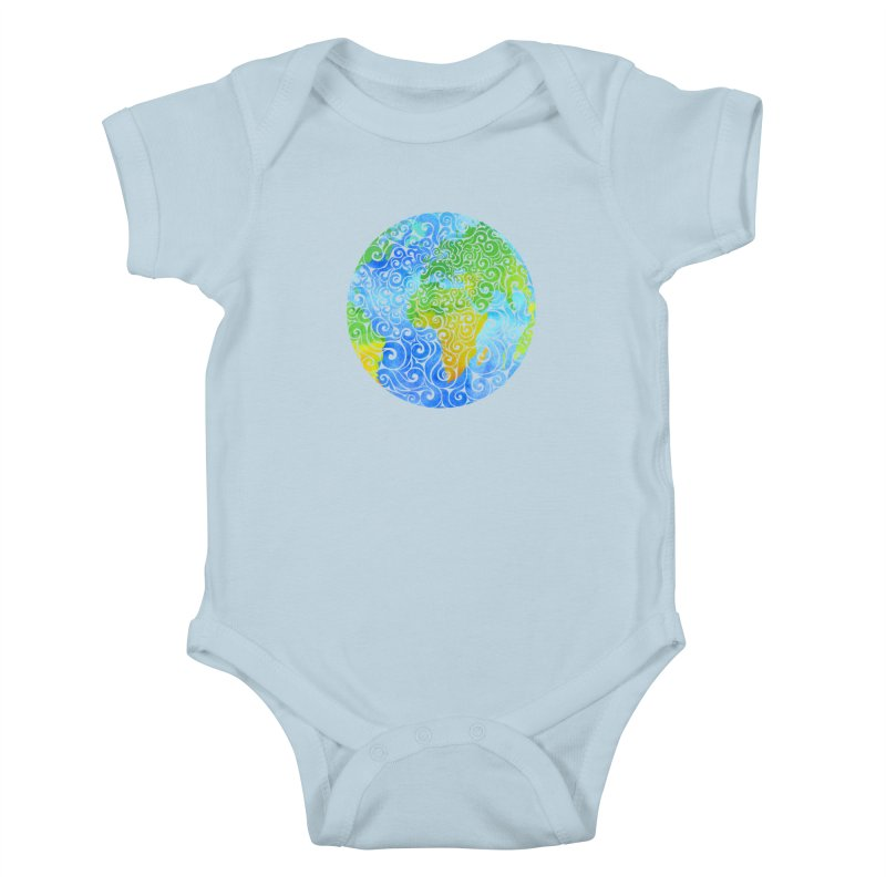 Swirly Earth Kids Baby Bodysuit by VectorInk's Artist Shop