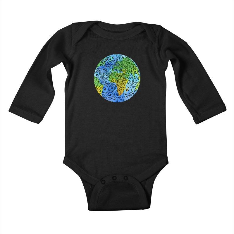 Swirly Earth Kids Baby Longsleeve Bodysuit by VectorInk's Artist Shop