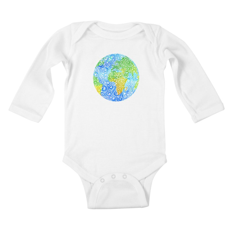 Swirly Earth Kids Baby Longsleeve Bodysuit by VectorInk's Artist Shop
