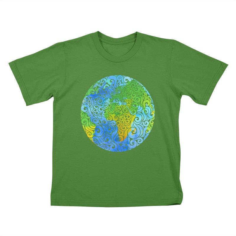 Swirly Earth Kids T-Shirt by VectorInk's Artist Shop