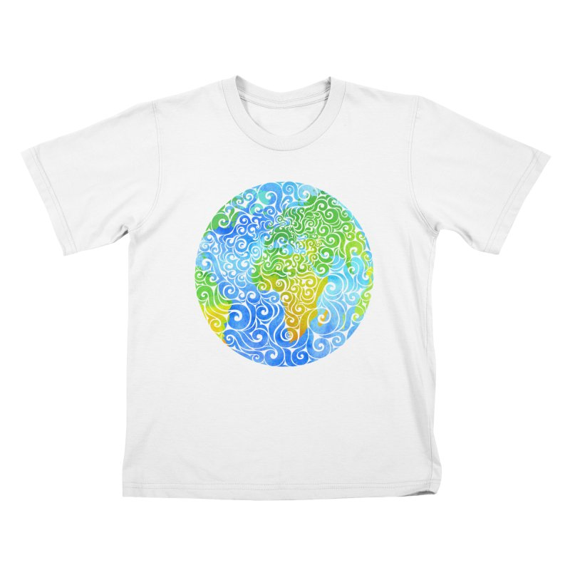 Swirly Earth Kids T-Shirt by VectorInk's Artist Shop