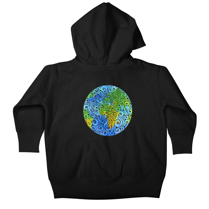 Swirly Earth Kids Baby Zip-Up Hoody by VectorInk's Artist Shop