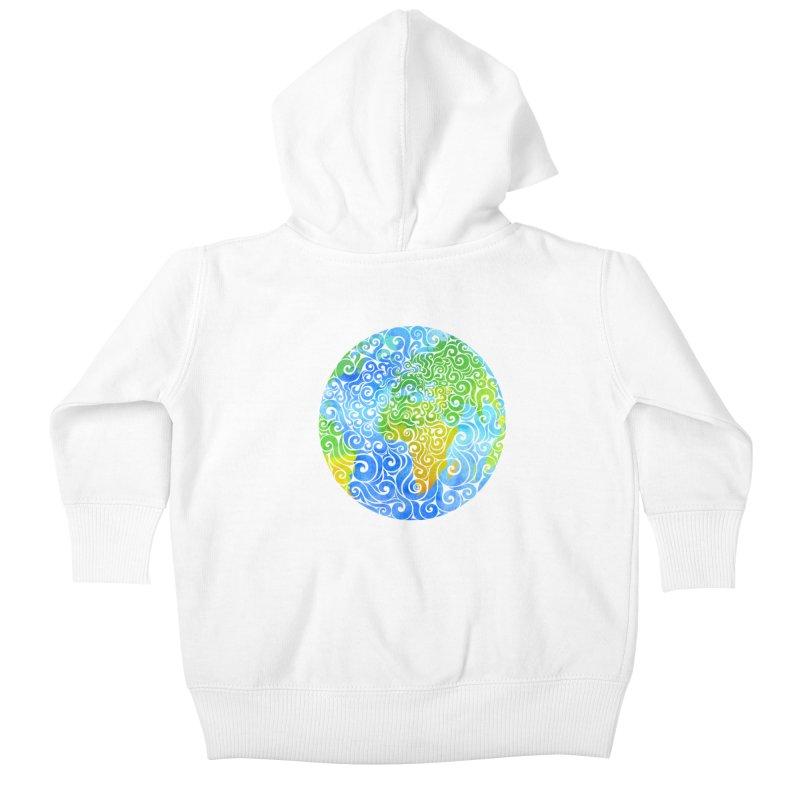 Swirly Earth Kids Baby Zip-Up Hoody by VectorInk's Artist Shop