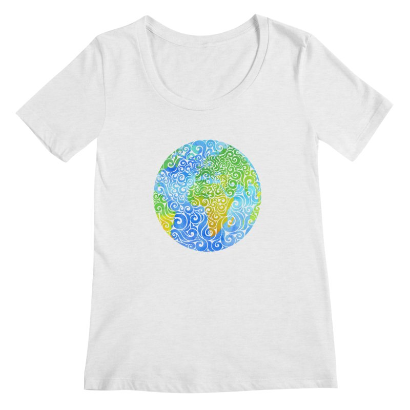 Swirly Earth Women's Scoopneck by VectorInk's Artist Shop