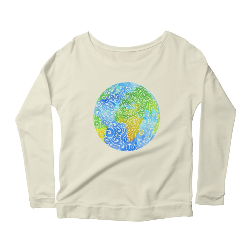 Swirly Earth Women's Longsleeve Scoopneck  by VectorInk's Artist Shop