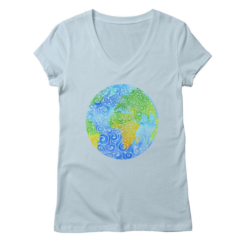 Swirly Earth Women's V-Neck by VectorInk's Artist Shop