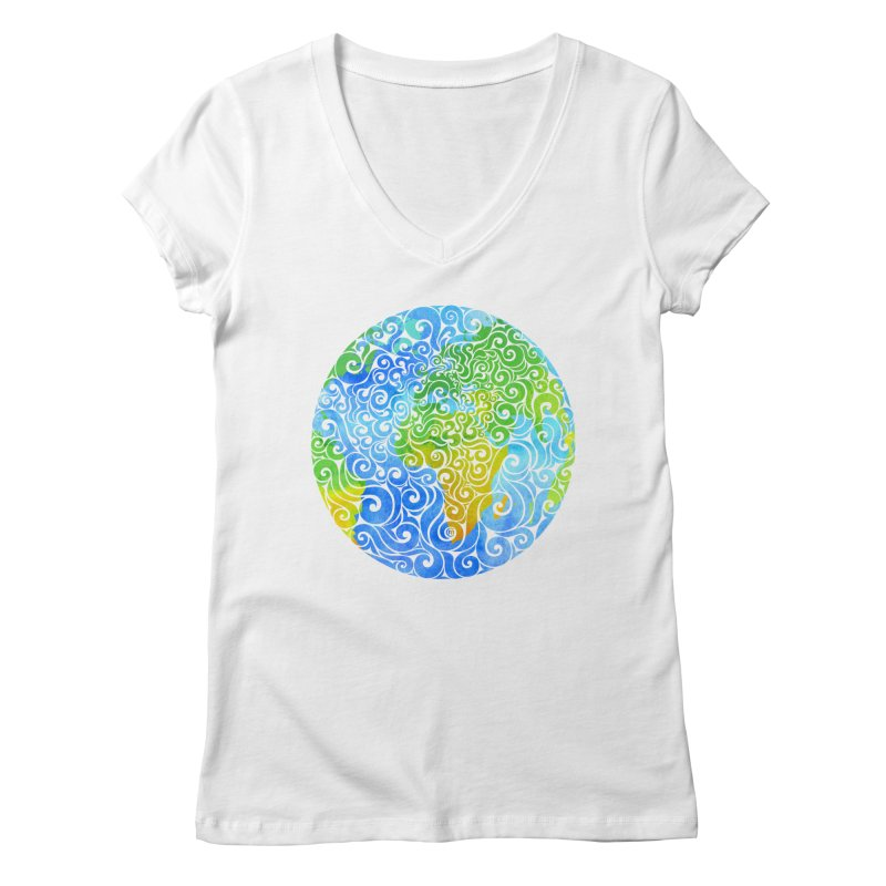Swirly Earth Women's V-Neck by VectorInk's Artist Shop